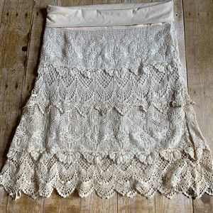 Solitaire By Ravi Khosla Cream Lace Skirt